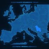 Mapa do sumário de Europa Sérvia destacada Fundo do vetor Mapa futurista do estilo Fotografia de Stock