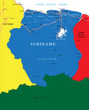 Mapa do Suriname Fotografia de Stock Royalty Free