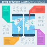Mapa do telefone do mundo Fotografia de Stock
