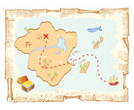 Mapa do tesouro. Imagens de Stock Royalty Free