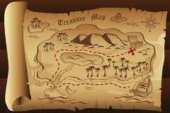 Mapa do tesouro Fotos de Stock Royalty Free