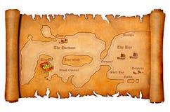 Mapa do tesouro do pirata Imagens de Stock Royalty Free