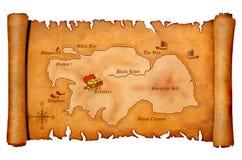 Mapa do tesouro do pirata Imagens de Stock