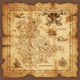 Mapa do tesouro do pirata do vetor Imagens de Stock Royalty Free