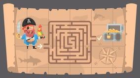 Mapa do tesouro e labirinto do enigma Imagens de Stock Royalty Free