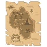 Mapa do tesouro do pirata no estilo liso ilustração do vetor
