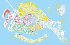 Mapa do vetor da cor de Veneza Foto de Stock Royalty Free
