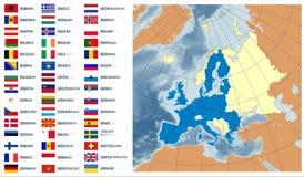 Mapa do vetor da União Europeia com bandeiras Imagens de Stock Royalty Free