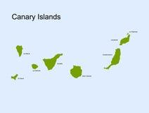Mapa do vetor das Ilhas Canárias Foto de Stock Royalty Free