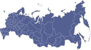 Mapa do vetor das regiões do russo ilustração do vetor