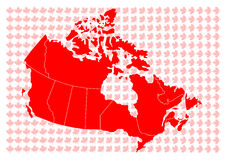 Mapa do vetor de Canadá Imagens de Stock