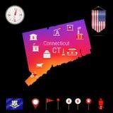 Mapa do vetor de Connecticut, opinião da noite Ícone do compasso, elementos da navegação do mapa Bandeira da flâmula dos EUA Ícon Imagens de Stock