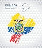 Mapa do vetor de Equador com o interior da bandeira isolado em um fundo branco Ilustração tirada mão do giz do esboço ilustração do vetor