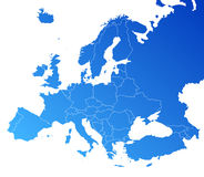 Mapa do vetor de Europa Fotografia de Stock Royalty Free