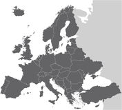 Mapa do vetor de Europa Fotografia de Stock