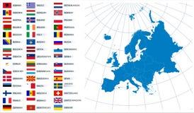 Mapa do vetor de Europa com bandeiras Fotografia de Stock