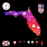 Mapa do vetor de Florida, opinião da noite Ícone do compasso, elementos da navegação do mapa Bandeira da flâmula dos EUA Ícones d Imagem de Stock