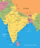 Mapa do vetor de India Imagens de Stock Royalty Free