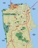Mapa do vetor de San Francisco Fotos de Stock
