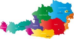 Mapa do vetor de Áustria Imagens de Stock