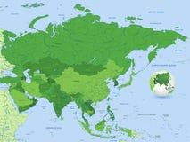 Mapa do vetor do verde de Ásia Imagens de Stock Royalty Free