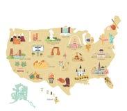 Mapa do vetor do turista dos EUA com marcos famosos ilustração stock
