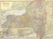 Mapa do vintage 1896 dos Estados de Nova Iorque Fotografia de Stock