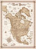 Mapa do vintage de America do Norte Fotografia de Stock Royalty Free