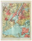 Mapa do vintage de New York fotografia de stock