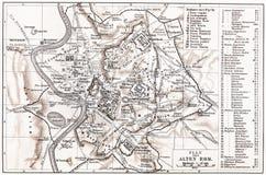 Mapa do vintage de Roma antiga Foto de Stock