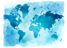 Mapa do vintage do mundo em um fundo azul Ilustração da aguarela Fotografia de Stock Royalty Free