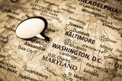 Mapa do Washington DC Imagens de Stock