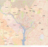 Mapa do Washington DC Ilustração Stock