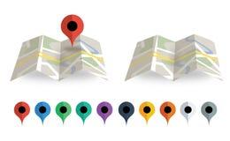 Mapa doblado con el indicador del mapa Fotos de archivo