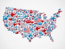 Mapa dos ícones das eleições dos EUA Imagem de Stock Royalty Free