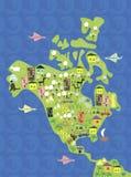 Mapa dos desenhos animados de America do Norte no vetor Foto de Stock Royalty Free