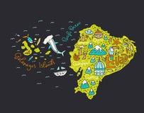 Mapa dos desenhos animados de Equador ilustração do vetor