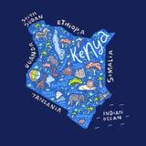 Mapa dos desenhos animados de Kenya ilustração stock