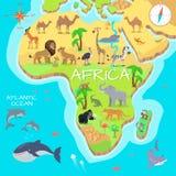 Mapa dos desenhos animados do continente de África com espécie da fauna Fotos de Stock