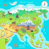 Mapa dos desenhos animados do continente de Ásia com espécie da fauna Imagens de Stock