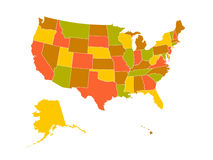 Mapa dos E.U. Fotografia de Stock