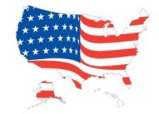 Mapa dos E.U. com bandeira Fotos de Stock