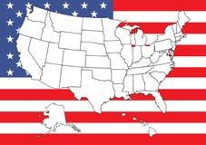 Mapa dos E.U. com bandeira Fotos de Stock Royalty Free