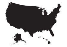 Mapa dos E.U. com bandeira Imagem de Stock