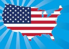 Mapa dos E.U. com estrelas e listras ilustração do vetor