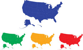 Mapa dos E.U. cores modificáveis. Imagem de Stock Royalty Free