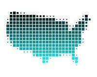 Mapa dos E.U. em quadrados de turquesa Imagens de Stock
