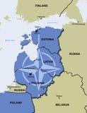 Mapa dos Estados Bálticos da missão de policiamento da polícia de ar da OTAN Fotografia de Stock Royalty Free