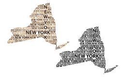 Mapa dos Estados de Nova Iorque - ilustração do vetor Foto de Stock