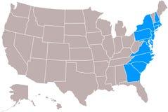 Mapa dos estados do original 13 ilustração stock